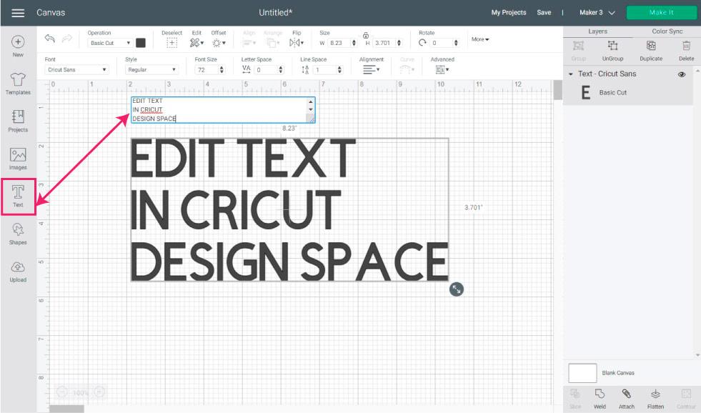 add text in cricut design sace