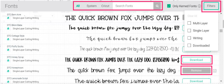 filtering fonts in cricut design space.