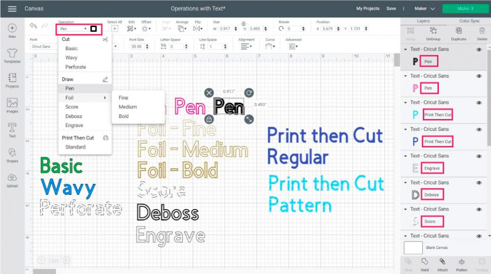 Using all operations in cricut design space with text.