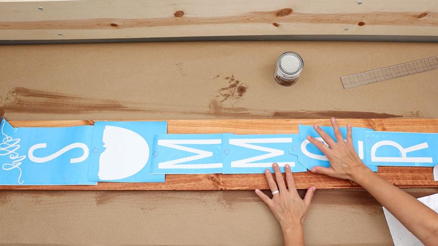 organizing stencil on wood