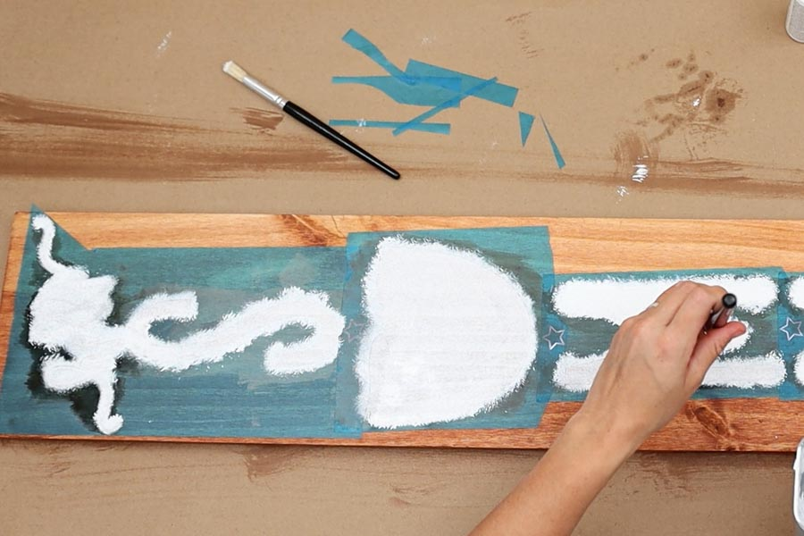 painting wood with stencil brush