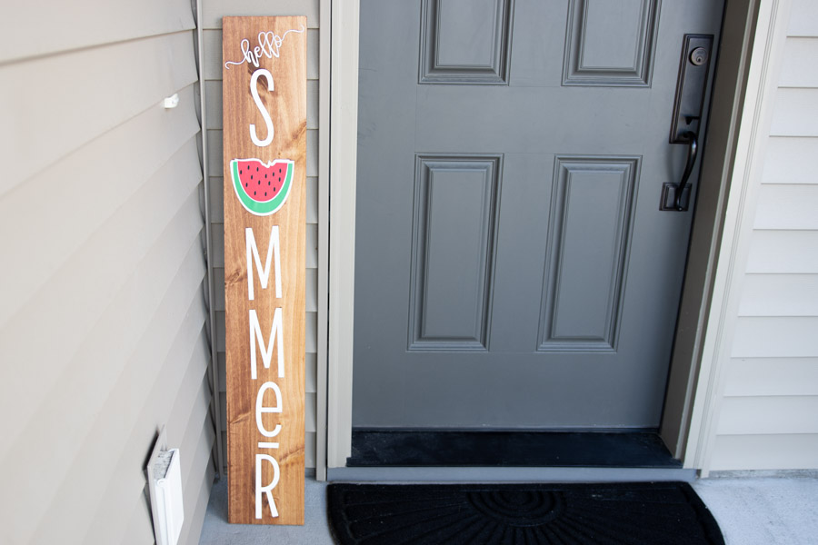 front door (porch) wooden sign made with cricut machine