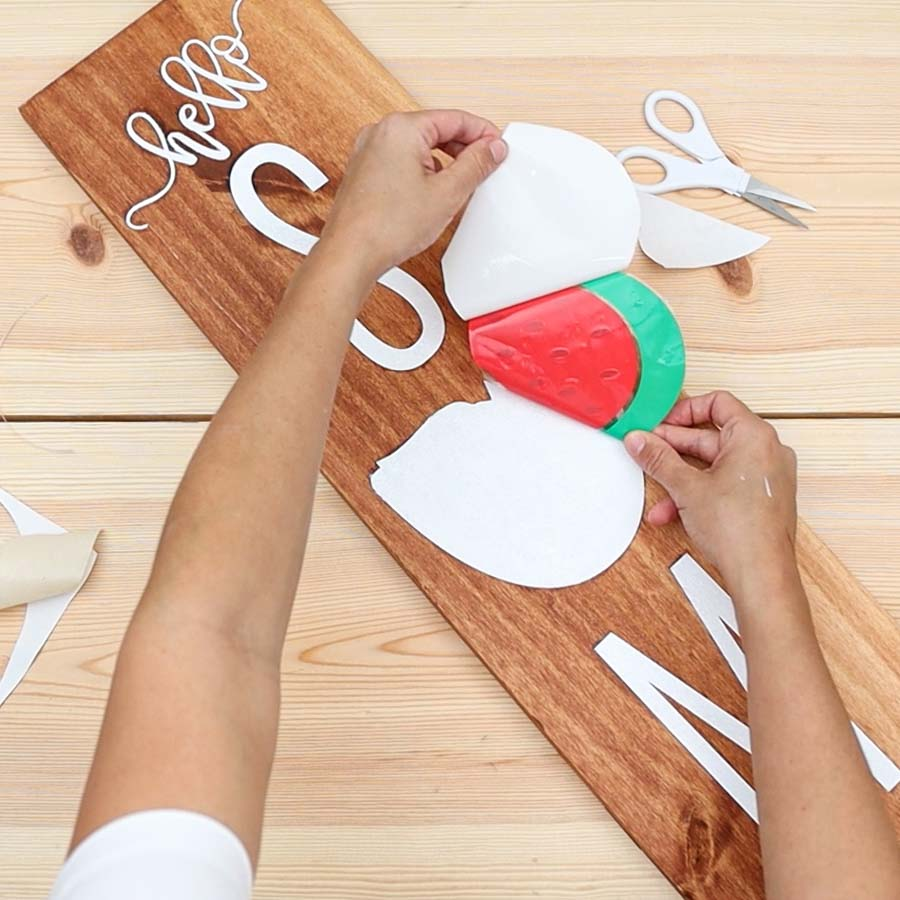 transferring adhesive vinyl to painted wood