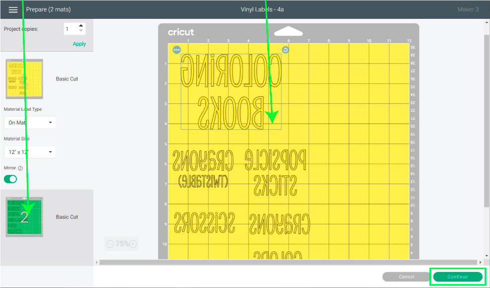 organized labels in mat preview in Design Space