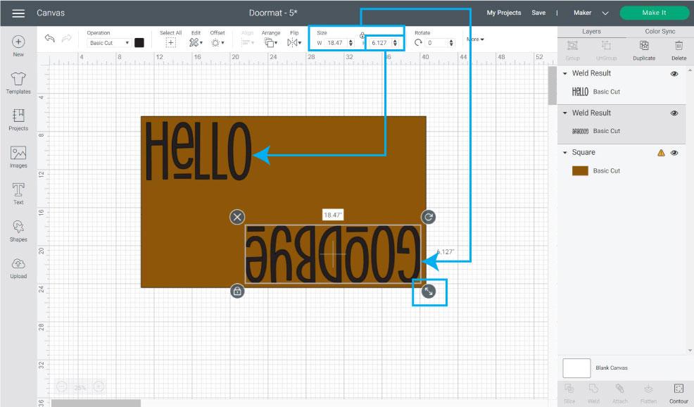 resizing designs for doormat in cricut design space