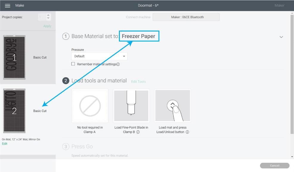 Cut freezer paper in design space