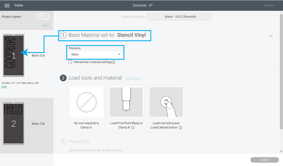 selecting stencil vinyl material in design space
