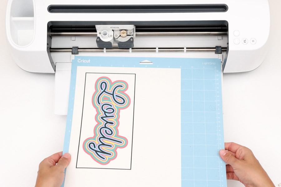 loading print then cut cake topper to cricut machine