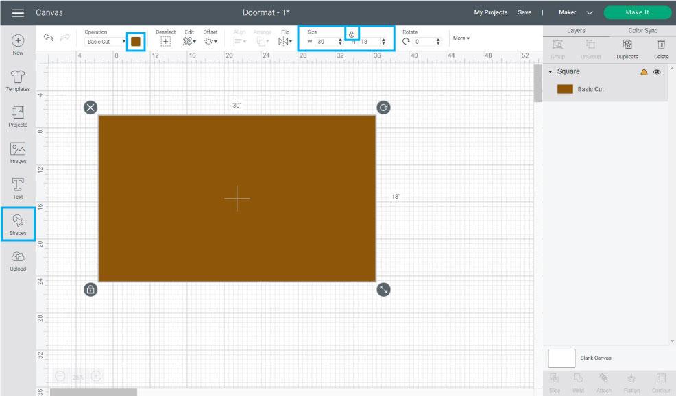 add a doormat shape in design space