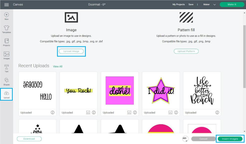 upload design to cricut design space