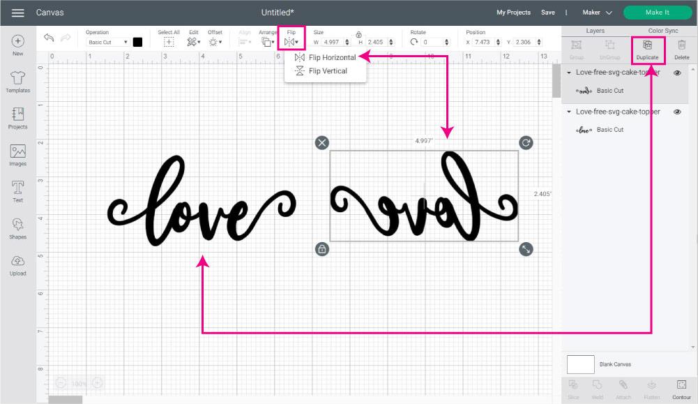 Duplicate, Flip Design Horizontally in Design Space