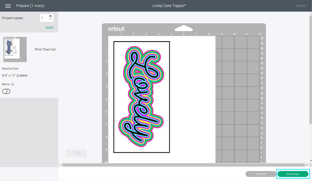 print then cut cake topper mat preview