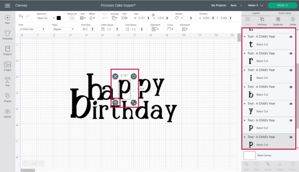 organizing letters on cake toper in design space