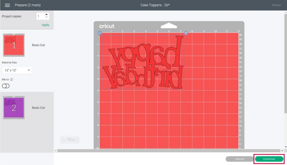 cutting preview in Cricut Design Space