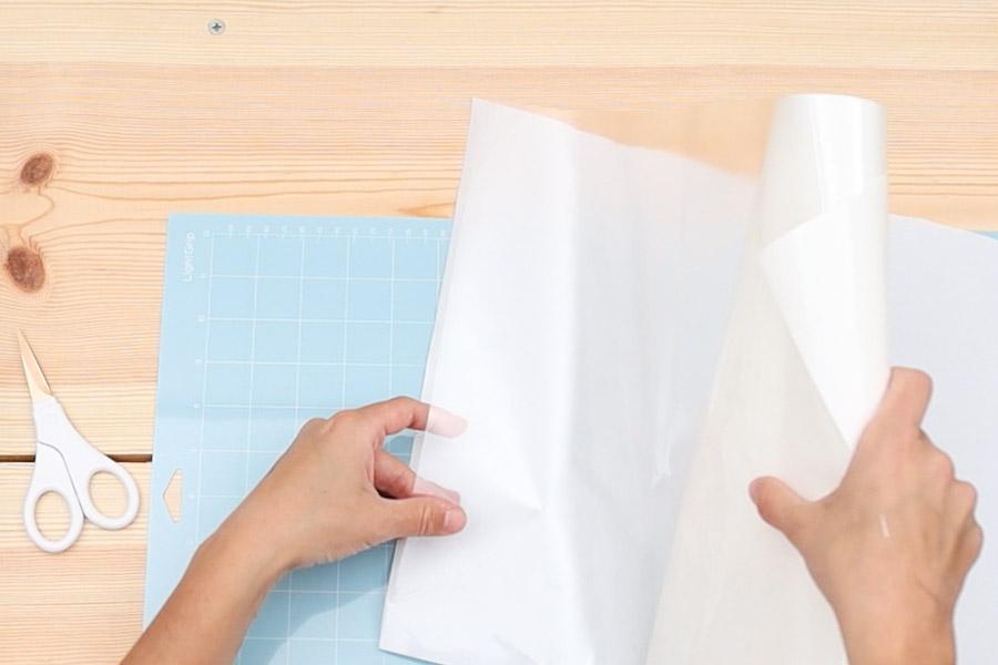 place heat transfer mask on freezer paper