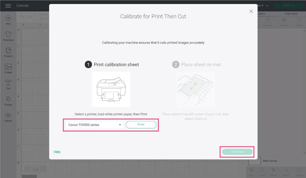 printer selection prompt in Cricut Design Space