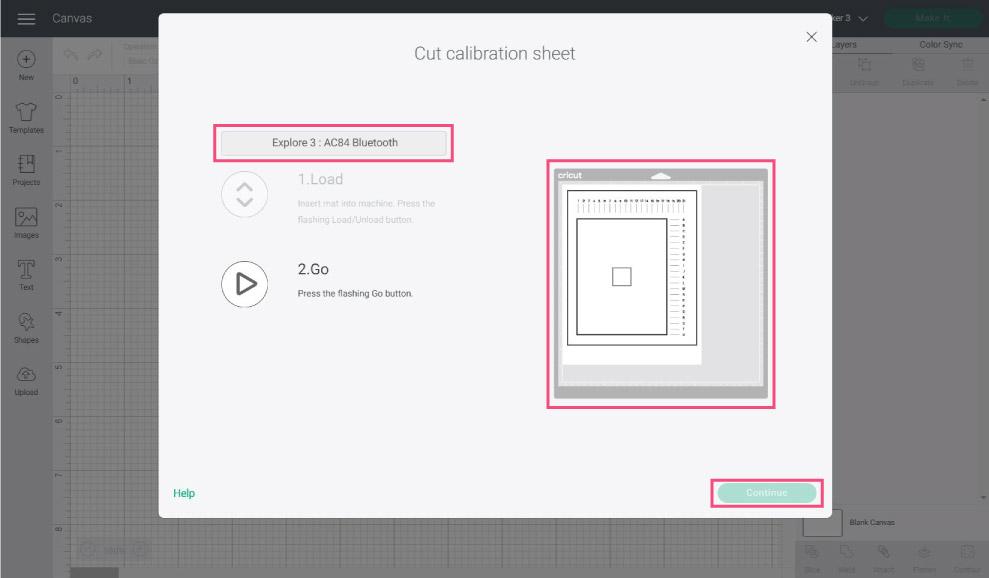 calibration sheet prompt in Cricut Design Space