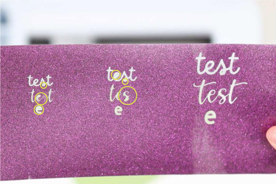test cut with glitter iron-on using text